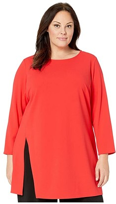 Vince Camuto Specialty Size Plus Size Long Sleeve Side Slit Crepe Ponte Tunic (Fiesta) Women's Clothing