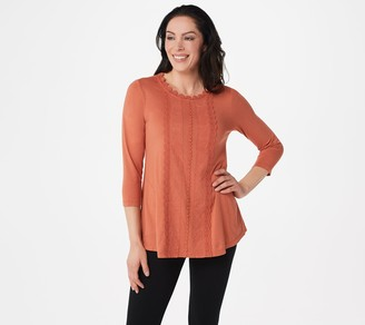 Logo by Lori Goldstein Cotton Modal Top with Crochet Detail