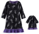 Jammies For Your Families Toddler Girl Jammies For Your Families Skeleton Microfleece Halloween Nightgown & Doll Gown Pajama Set
