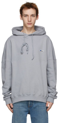 we11done Grey Embroidered Logo Hoodie