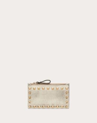Valentino Rockstud Metallic Calfskin Cardholder With Zipper Women Sahara Calfskin 100% OneSize