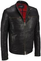 Black Rivet Mens Snap Collar Leather Jacket W/ Plaid Lining