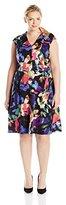 London Times Women's Plus-Size Cap Sleeve V-Neck Full Skirt