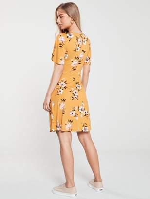 Very Jersey Skater Dress - Mustard Floral