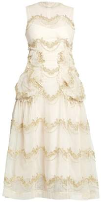 Simone Rocha Sleeveless Smocked A-Line Dress