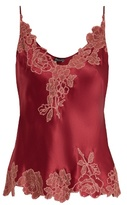 Carine Gilson Lace-trimmed silk-satin cami top