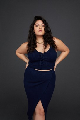 Good American Off Site Knit Top | Navy001