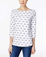 Charter Club Petite Bicycle-Print Boat-Neck Top, Only at Macy's