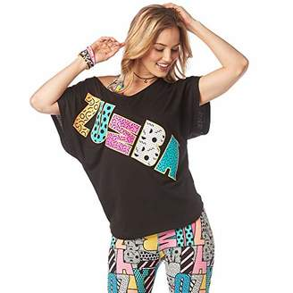Zumba Women's Active Dance Graphic Tees Loose Fitness V-Neck Workout T Shirt