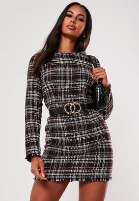 Missguided Black Tweed Shift Dress