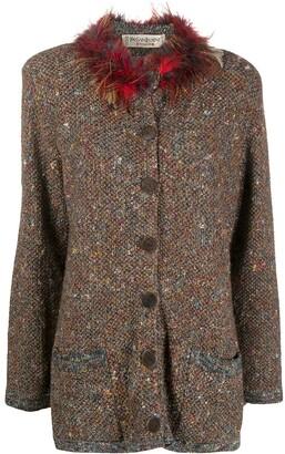 Yves Saint Laurent Pre Owned Feather-Trim Boucle Coat