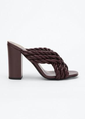 Valentino Crisscross Napa Rope Slide Sandals