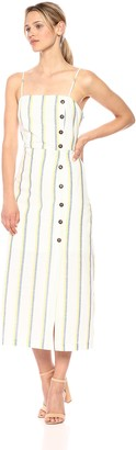 J.o.a. Women's Sleeveless Casual Striped Maxi Dress with Side Buttons