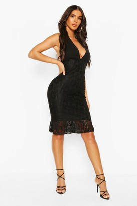boohoo Lace Plunge Front Halter Neck Dress
