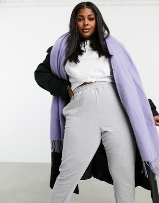 ASOS DESIGN supersoft long woven scarf with tassels dusty lavender