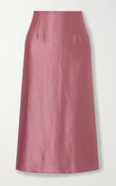Vince Asymmetric Hammered Silk-satin Midi Skirt
