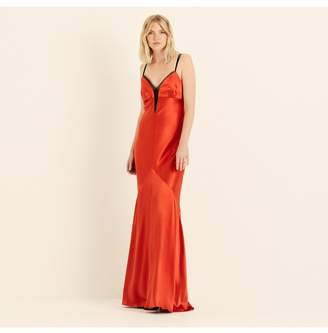 Amanda Wakeley Spice Crepe Back Satin Maxi Slip Dress