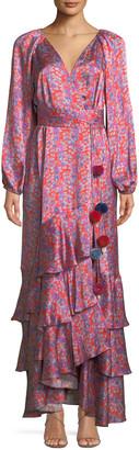 Figue Federica Long-Sleeve Wallpaper Floral-Print Tiered Silk Satin Dress