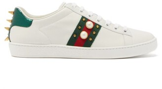 Gucci Ace Stud-embellished Leather Trainers - White