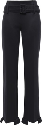 Prada Belted Ruffle-trimmed Scuba Straight-leg Pants