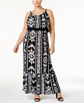 INC International Concepts Plus Size Ikat-Print Fringe Maxi Dress, Created for Macy's