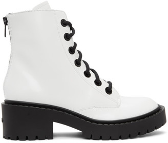Kenzo White Pike Lace-Up Boots