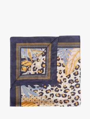 Unmade Naima Animal Print Square Silk Scarf, Navy/Multi