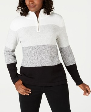 Karen Scott Cotton Half-Zip Striped Sweater, Created for Macy's