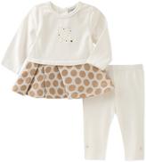 Absorba White & Tan Peplum Tunic & Leggings - Infant