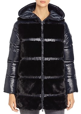 Save The Duck Fury Hooded Faux Fur Detail Coat
