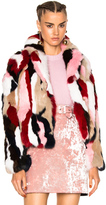 MSGM Fur Jacket in Pink,Neutrals,Abstract.