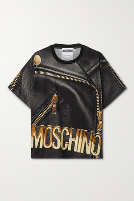 Moschino Oversized Printed Cotton-jersey T-shirt - Black