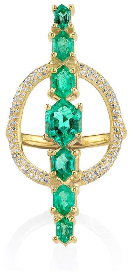 Ark Emerald and Pavé Diamond Saturn Ring