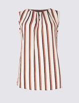 M&S Collection Striped Round Neck Sleeveless Shell Top