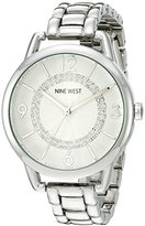 Nine West Women's NW/1835SVSB Crystal Accented Silver-Tone Bracelet Watch