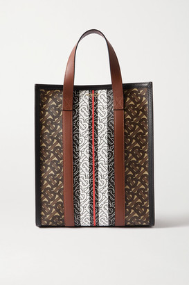 Burberry Leather-trimmed Printed Coated-canvas Tote - Brown