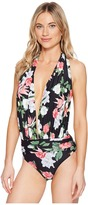 Vince Camuto Tropical Halter Plunge One-Piece Swimsuit Women's Swimsuits One Piece