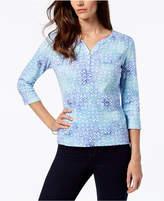Karen Scott Petite Cotton Printed 3/4-Sleeve Henley, Created for Macy's