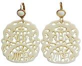 Kenneth Jay Lane Carved Statement Oriental Cream Off White Drop Earrings 7834EII