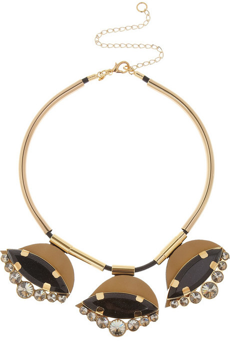 Marni Gold-tone, horn and leather necklace
