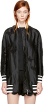 Valentino Black Long Butterfly Bomber Jacket