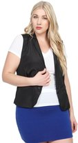TheMogan Women's Chiffon Back One Button Sleeveless Jacket Vest 1XL
