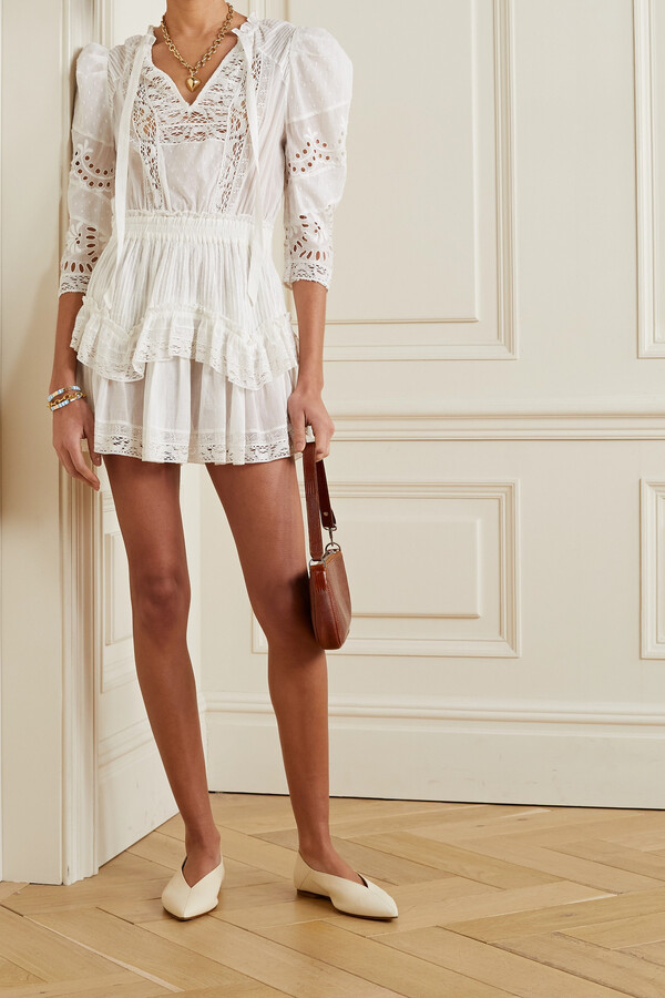 LoveShackFancy Isidore Lace-trimmed Broderie Anglaise And Swiss-dot Cotton-voile Mini Dress - White
