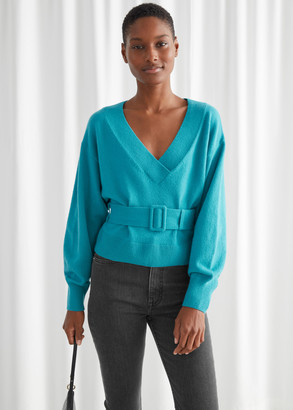 And other stories Oversized Belted V-Cut Sweater