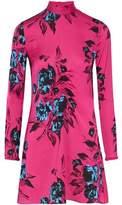 McQ Ruched Floral-Print Satin Mini Dress