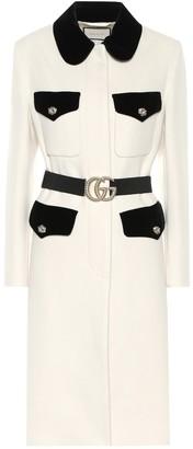Gucci Velvet-trimmed wool coat