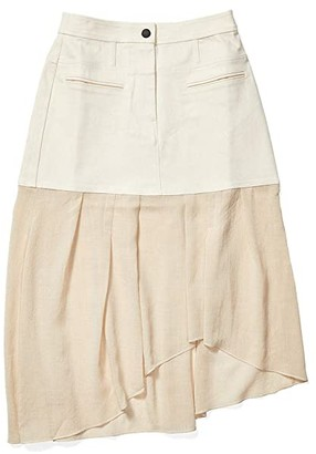 Colovos Denim Combo Asymmetric Skirt (Natural) Women's Skirt