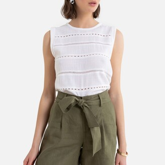 La Redoute Collections Cotton Sleeveless Blouse with Round-Neck