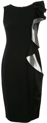 Paule Ka Metallic Ruffle-Trim Dress