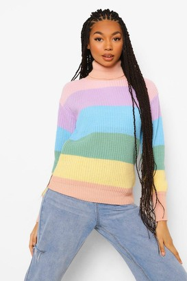 boohoo Rainbow Pastel Stripe sweater